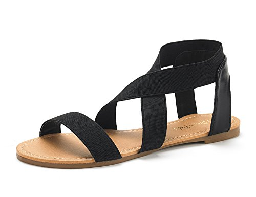 in budget affordable DREAM COUPLES Women's Sandals Elatica-6 Black Flat Sandals with Elastic Ankle Strap – 10 M USA