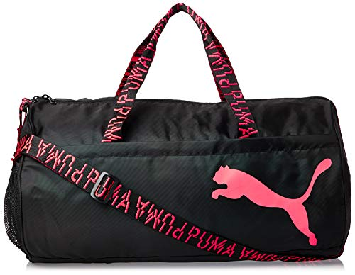 PUMA Damen at ESS Barrel Bag Sporttasche, Black-Pink Alert-AOP, OSFA