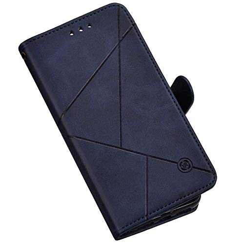 Hülle Kompatibel mit Samsung Galaxy A80/A90 Ledertasche Brieftasche Handyhülle,QPOLLY Geometrisch PU Leder Handy Tasche Kartenfächer Schutzhülle Wallet Tasche Flip Case für Galaxy A80/A90,Blau