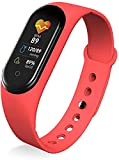 Pulsera inteligente deportiva para mujer, presión arterial, monitor de frecuencia cardíaca, llamada de música, impermeable, reloj inteligente para hombres (color rosa y rojo