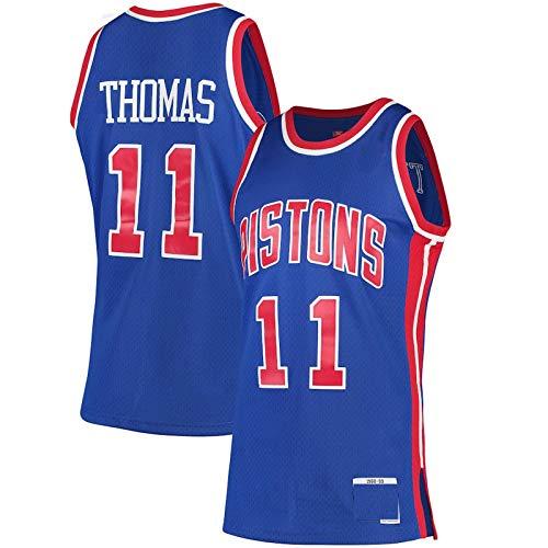 ERERT Camiseta de baloncesto personalizada Isiah Thomas #11 Detroit Pistons 1988-89 de madera dura Jersey de baloncesto Clásicos Swingman Jersey - Azul