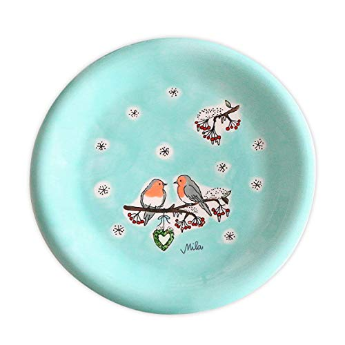 Mila Keramik-Teller, Motiv Wintervögel | MI-84158 | 4045303841581