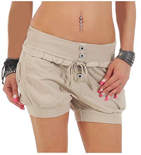 malito more than fashion Malito Damen Hotpants in Unifarben | lockere Kurze Hose | Bermuda für den Strand | Pants - Shorts - klassisch 6086 (beige, M)