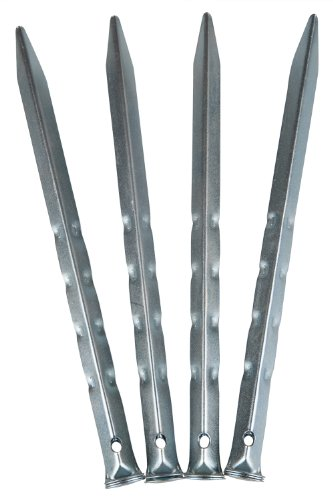 Mountain Warehouse Ripple Tent Pegs - 10pk - 23cm/9inches Pack of 10 Rippled Tent Stakes, Angular Design Camping Tent Hooks - For Camping, Hiking, Beach & Outdoors Silver