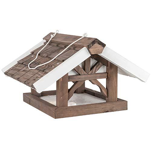 """VOSS.garden Futterhaus """"Jane"""" zum Aufhängen, Vogelfutterhaus, Vogelhaus mit Holzschindeln, 44 x 46 x 28cm"""