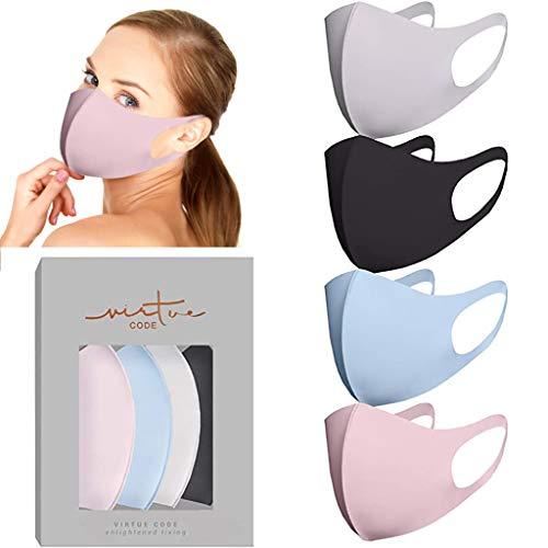 riou 4 Stück Mundschutz aus Seide Waschbar Nasenbügel Mode Atmungsaktiv Staubdichte Mund und Nasenschutz Halstuch Bandana