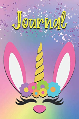 Journal: Bunny Unicorn Notebook | 6x9 Paperback Book | 120 Lightly Lined Pages for Writing and Note Taking | Easter Gift Idea for Girls, Teens and Women