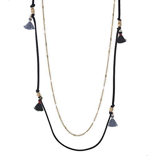 Tata Gisèle - Collar largo de fantasía, dos filas de metal dorado y antelina – Cadena de eslabones planos – ante negro con pompón de flecos y decoración de metal dorado – 89 cm