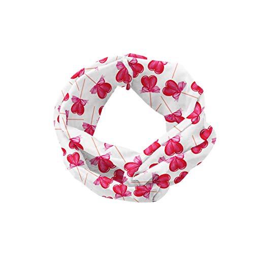 ABAKUHAUS Diadame día de San Valentín, Banda Elástica y Suave para Mujer para Deportes y Uso Diario Estilo romántico diseño de la acuarela en forma de corazón Lollipops con Arcos, Blanco y multicolor