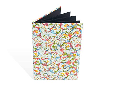 Leporello für Fotos, 12 x 17,5 cm, Faltbuch, Einsteckalbum, Florentiner Papier rote Ranken, Hochformat, für 14 Bilder