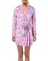 Nite Nite Munki Munki Women's Soft Jersey Knit Hooded Robe, ICY Pop Print, M/L