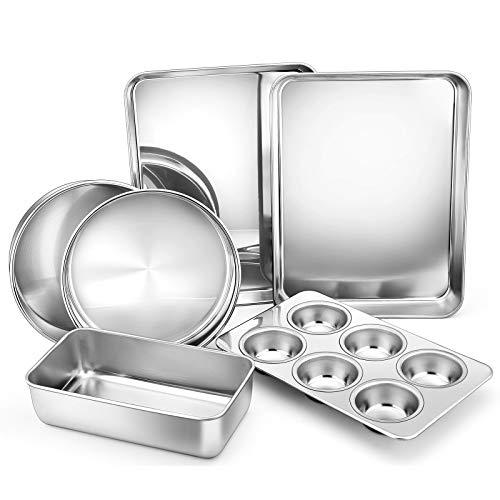 6-Piece Stainless Steel Bakeware Sets, E-far Metal Baking Pan Set Include Round Cake Pans, Rectangle Baking Pans, Cookie Sheet Tray, Loaf/Muffin Pan Tin, Non-toxic & Dishwasher Safe