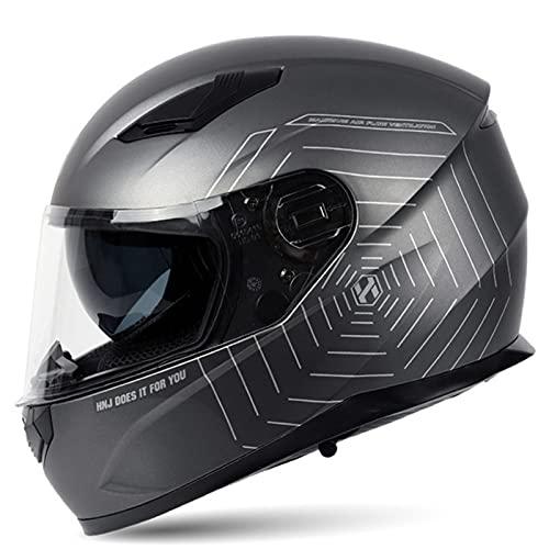 Casco Moto Para Mujer Casco De Moto De Cara Completa Con Bluetooth Para Respuesta Automática, Homologado ECE DOT Casco Integral Para Scooter Motocross Con Doble Visera Para Hombre B,L