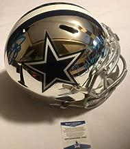 Ezekiel Elliott & Emmitt Smith Autographed Signed Fs Cowboys Chrome Helmet Beckett Coa