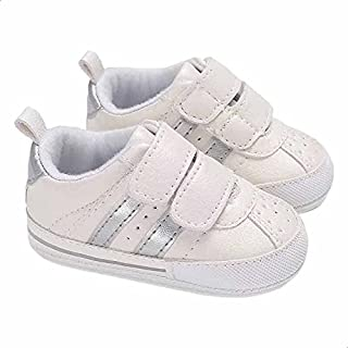 Mix and Max Pull-Tab Metallic-Stripe Low-Top Velcro-Strap Shoes for Boys - Off White and Silver, 0-6 Months