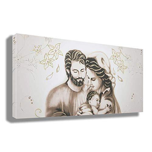 Quadro CAPEZZALE Sacra Famiglia natività madonna gesù - RIPRODUZIONE STAMPA SU TELA Quadri Arte Moderno Moderni Soggiorno Camera da letto printerland.it (50x100)