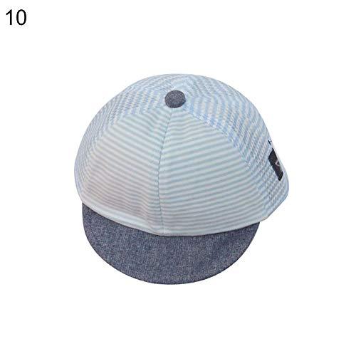 E-House Chapeau de soleil en coton doux pour bébé garçon fille Motif rayé Bleu Light Blue Mesh