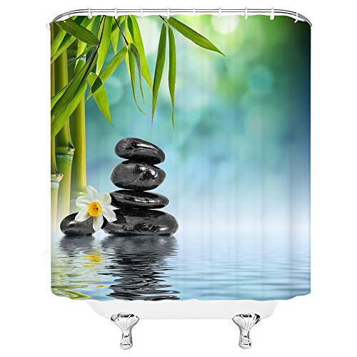 Xnichohe Spa Shower Curtain Bamboo Basalt Stones White Flower Reflection on Water Relaxing Tranquil Feeling Waterproof Machine Washable Bathroom Accessories Set with Hooks 70x70 Inches Green Black