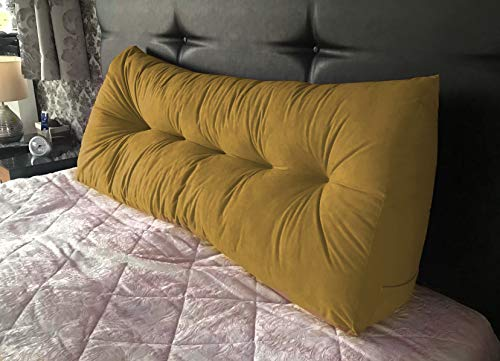 Lancashire Textiles Faux Suede Triangular Wedge Cushion - King Size Bed - 20 x 50 x 150cm - Mustard