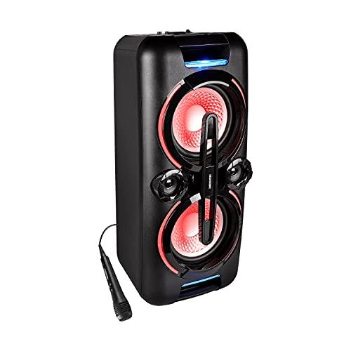 MEDION X61555 Party-Soundsystem (Party Lautsprecher mit Bluetooth 2.1, Akku für bis zu 4 Std, Kompaktanlage, 2 x 350 Watt, X-Bass, PLL UKW, Mikrofonanschluss, Verschiedene Beleuchtungseffeke)