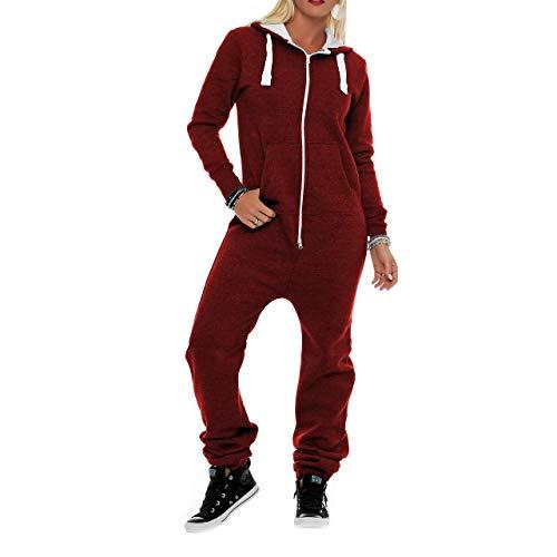Damen Jumpsuit Fleece Schlafanzug Frau Traininganzug Onesie Schönes elegente Playsuit Damen Einteiler Onesie Overalls Hoodies Nachtwäsche (X-Large, Wein)