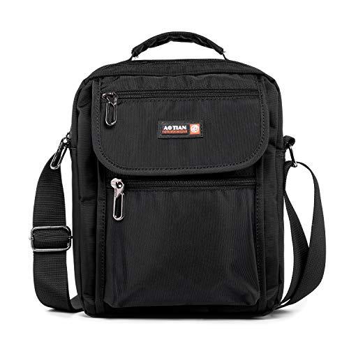 Waterproof Multi Pockets Crossbody Bag with Handle for Men Casual Travel Messenger Shoulder Bag Side Bag Satchel Handbag Long Strap for Tablet Work School Hiking Camping