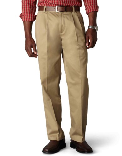 Dockers Men's Classic Fit Signature Khaki Pant – Pleated D3 , Dark Khaki, 42×32