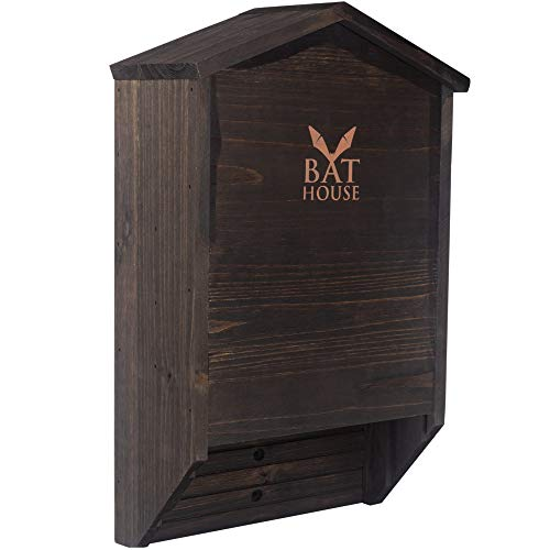 KIBAGA Handcrafted Wooden Bat House Box for The Outdoors - Large Double Chamber Bat Shelter Creates Easy to Land Home for Bats
