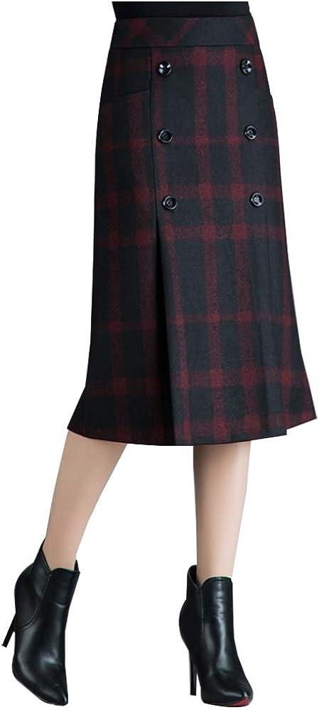 IDEALSANXUN Women's High Waist Straight Wool Skirt Winter Fall Warm Midi Skirt