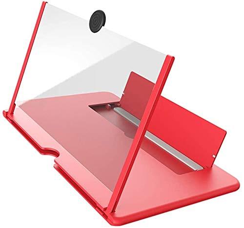 LYYJIAJU Lupa de Lectura portátil Pantalla de teléfono móvil Plegable de 12 Pulgadas Protección contra la radiación 3D HD Video Lupa (Color : Rouge, Size : 1cps)