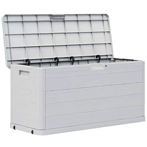Festnight Auflagenbox Wasserdicht Garten-Aufbewahrungsbox 280 L Gartenschrank Wetterfest Gartenbox Box Outdoor Truhe Balkon Aufbewahrungstruhe Sitzauflagen Box Wasserdicht Hellgrau