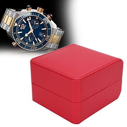 Uxsiya Caja de reloj de cuero PU Caja de reloj de cuero PU, para collares, pulseras, pendientes, broches, almacenamiento (rojo)