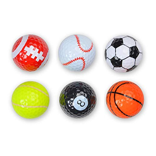 Shuzhu Assorted 6 PCS Golf Balls Double-Layer Construction Sports Practice Driving Range Novelty Balls Fun Gift for Golfer Childrens Souvenir Colorful Cartoon Cute Golf Balls