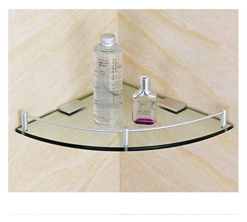 NUOCHEN Mensola angolare angolare a Muro Scaffale angolare in Vetro, Spessore 7mm 304 Scaffale per Il Bagno in Vetro temperato in Acciaio Inox 304 per Doccia (Size : 20cm)