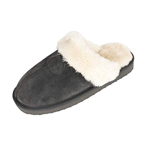 DREAM PAIRS Women's Cozy_05 Grey Suede Faux Fur Winter House Slippers Size 8.5-9 M US