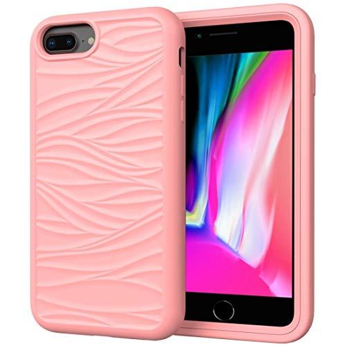 Xyamzhnn Funda telefónica para iPhone 6/7/8 más Patrón de Onda 3 en 1 Silicona + PC Shock a Prueba de choques (Color : Rose Gold)