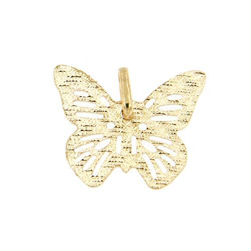 Lucchetta Damen-Halskette Schmetterling 14 Karat 585 Gelbgold Anhänger 42cm