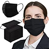 NaineLa Black Face Mask Disposable 100 PCS 3 Ply Filtration Face Protection Mouth Cover Breathable Safety Masks for Women Men