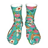 Basenji Florals Pure Breed Dog Turquoise Athletic Crew Socks for Running Hiking Everyday