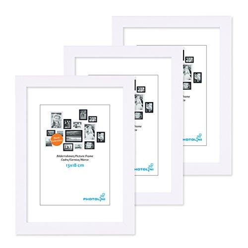 PHOTOLINI 3er Set Bilderrahmen 13x18 cm Modern Weiss aus MDF mit Acrylglas/Portraitrahmen/Wechselrahmen