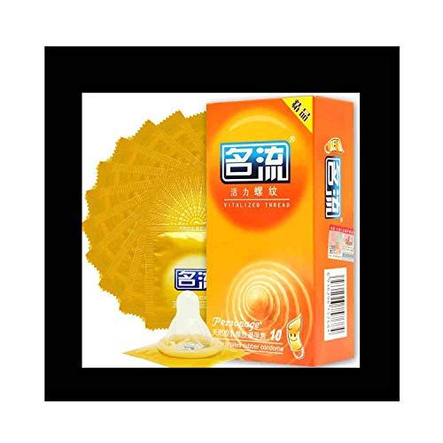 Kondome 10er Pack,Extra Dünn Körnige Kondome,latex Kondome für Männer,reißfest Natural Feeling Kondome,Extra Schmiert für Ein Noch Intensiveres Empfinden Safer Sex & Verhütung(Orange)