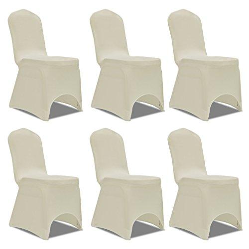 Anself 6er Set Stuhlhusse Stuhlbezug für viele Stuhlgrößen Cremefarben