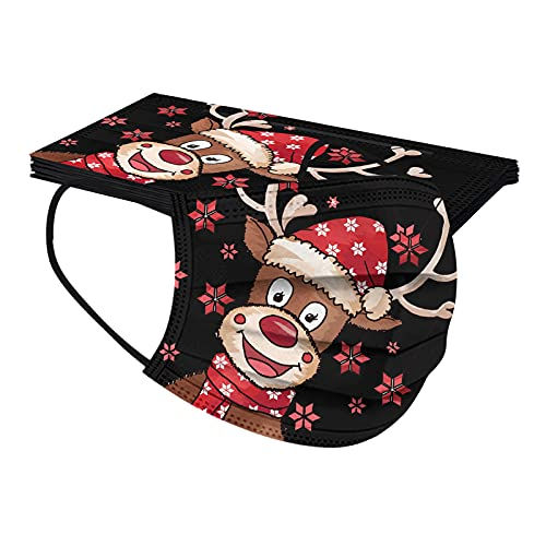 DressLksnf 10 Stück Op-Masken Mundschutz Weihnachtsmotiv Mund und Nasenschutz Halstuch Maske 3D Druck Weihnachtsmaske Elch Motiv Einmal MNS Mund-Tuch Staubdicht Atmungsaktiv Tücher Bandana Schals (M)