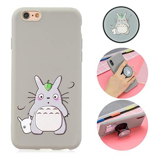 EuCase Cover iPhone 6s Silicone Morbido con Disegni Custodia iPhone 6 Antiurto Ultra Sottile TPU con Funzione Supporto Flessibile Protettivo Bumper Case Cover Totoro