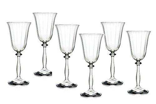 Bohemia Crystal Angela Set Calici Vino, Vetro, Trasparente, 18 cl, 6 Pezzi