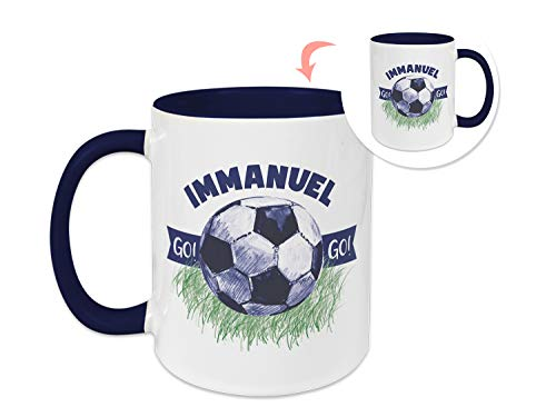 GRAZDesign Tasse Kinder mit Namen, personalisiert für Jungen Fußball/Becher Dunkelblau