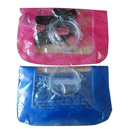 TOPBATHY 2 Stück Unterwasserkamera Gehäuse Gehäuse wasserdichte Packsack Tasche für Digitalkamera Uhr Telefon (Blau Rot)