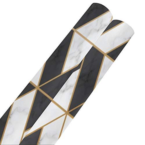 Textura de mármol Papel de regalo de mármol blanco negro para vacaciones 58 x 23 pulgadas 2 rollos de papel de regalo de Halloween Rollo de papel de regalo de cumpleaños para mujeres para el día de l