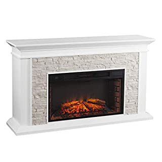 SEI Furniture Canyon Heights Faux Stacked Stone Electric Fireplace, White (B085DPW1WL) | Amazon price tracker / tracking, Amazon price history charts, Amazon price watches, Amazon price drop alerts