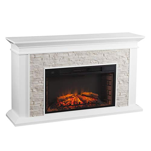 SEI Furniture Canyon Heights Faux Stacked Stone Electric Fireplace, White